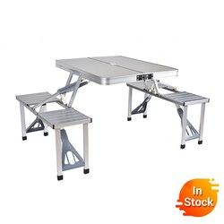 Teslimat normal açık katlanır masa sandalye kamp alüminyum alaşımlı piknik masa su geçirmez Ultra hafif dayanıklı katlanır masa