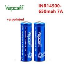 Bateria de íon de vapcell inr14500 650mah 7a li 3.7v 14500 baterias de lítio recarregáveis da parte superior do botão para a lanterna elétrica ferramentas brinquedos