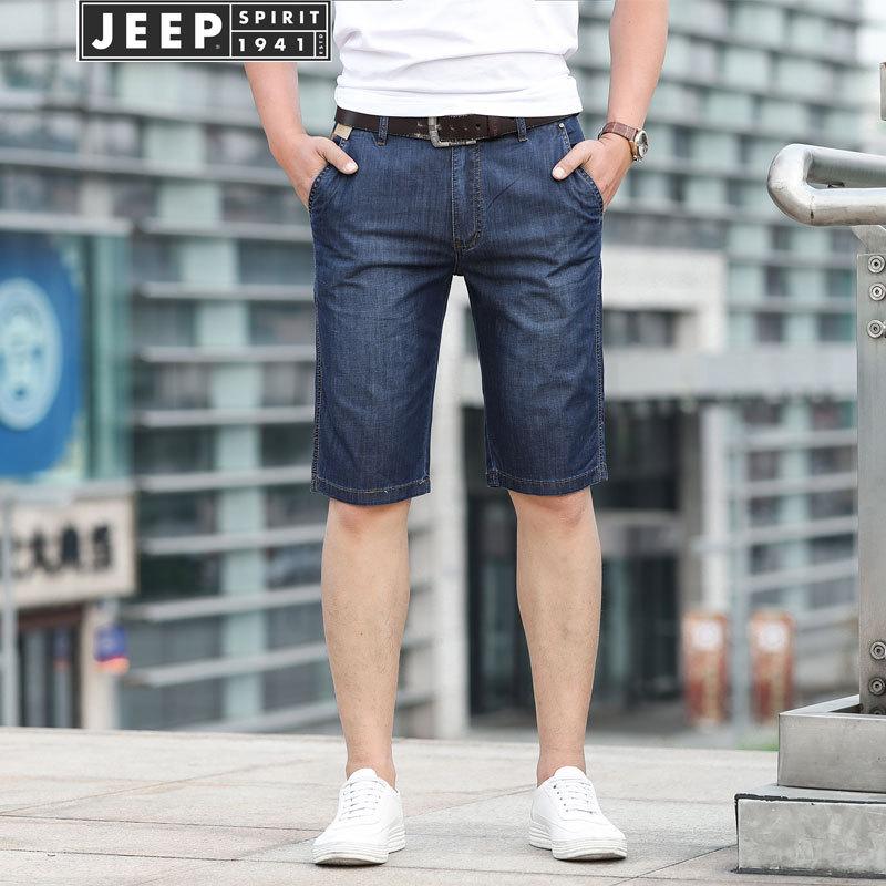 Jeep/Jeep MEN'S Jeans Shorts Short Multi-pocket Trousers Elasticity Straight-Cut Medium Waist Large Size Men's Trousers Shorts