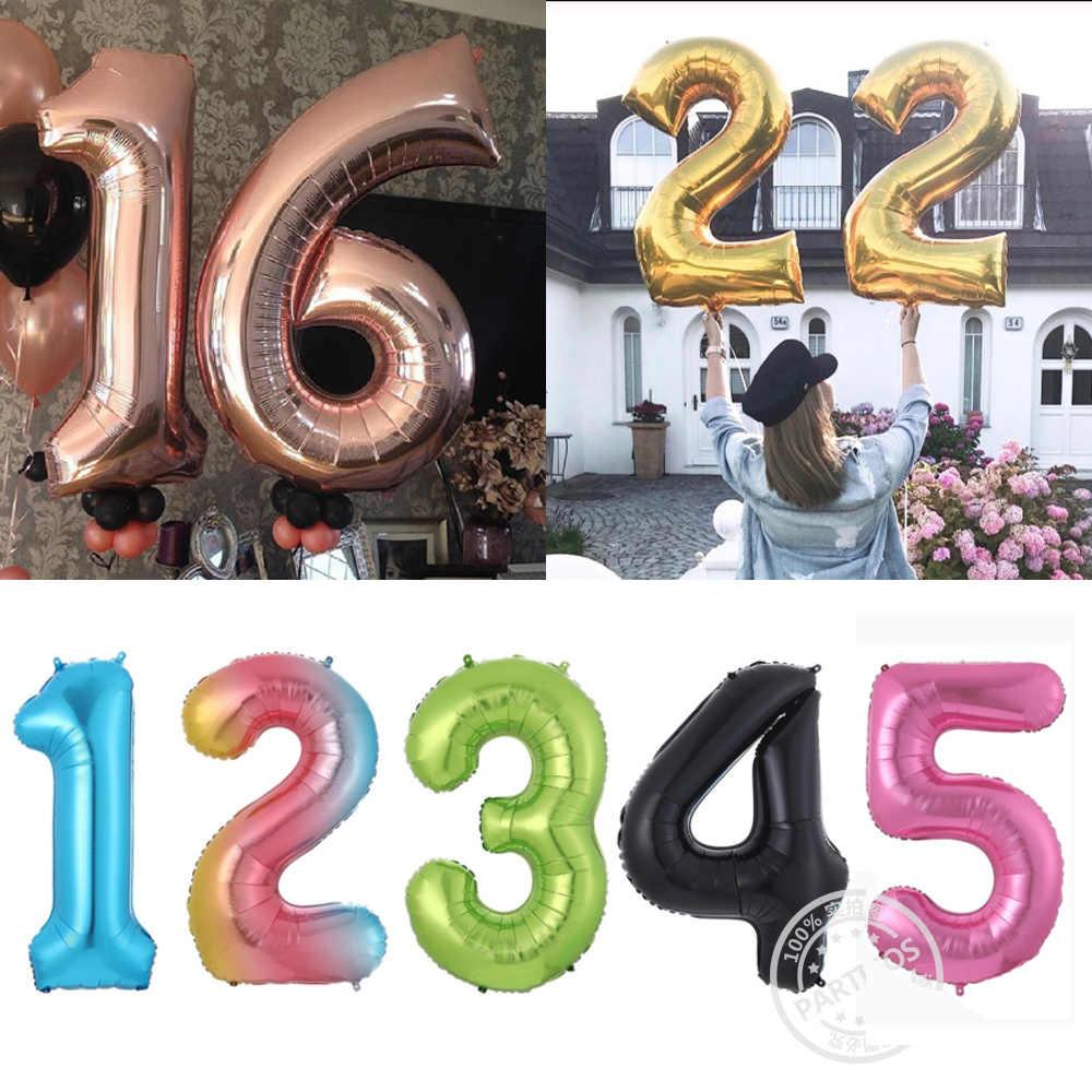 1pc 40 cali różowe złoto srebrne aluminiowe balony foliowe cyfry 0-9 urodziny ślub przyjęcie zaręczynowe wystrój Globos piłka dla dzieci dostaw