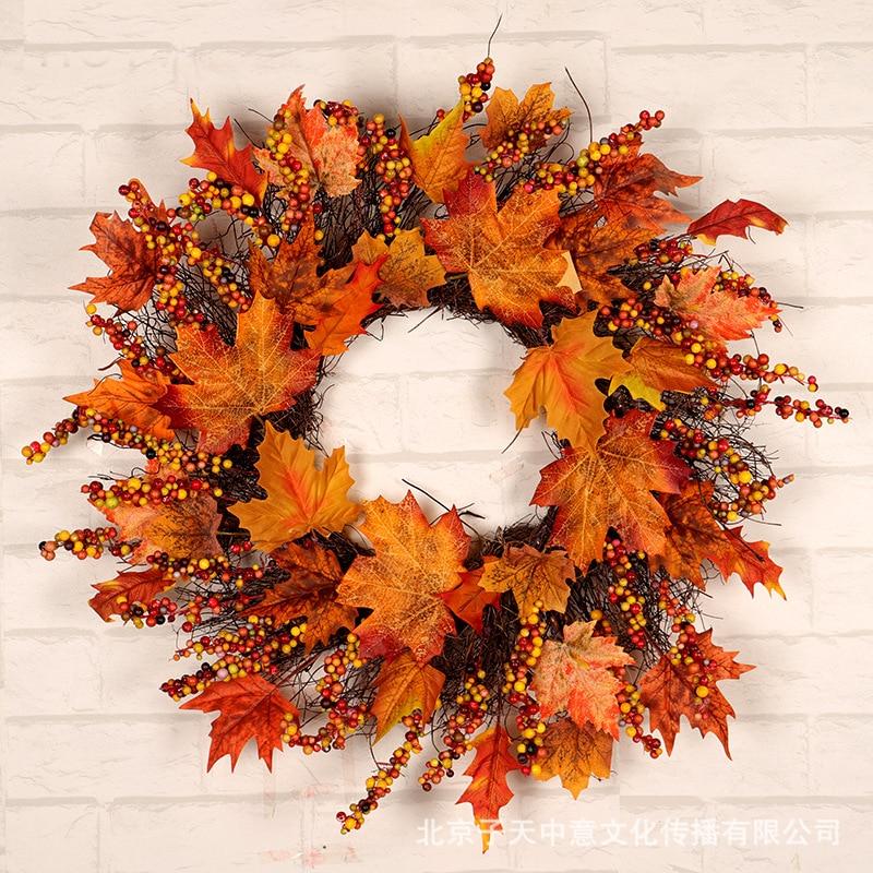 Рождественская гирлянда дверь венок украшение сельский дом Декор осень украшения дома День благодарения кленовые листья ягоды