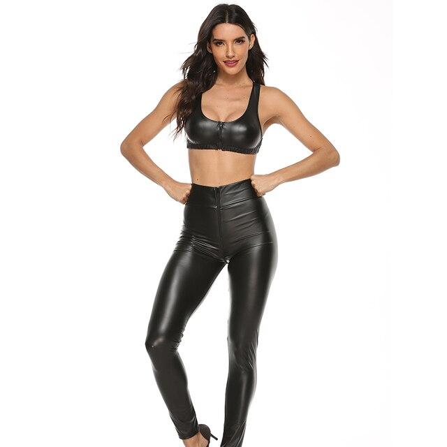 2PCS/Set Sexy PU Zipper Open Crotch Latex Pencil Pants With Vest Shiny Exotic Apparel High Elastic Clubwear Sex Party Costumes 4