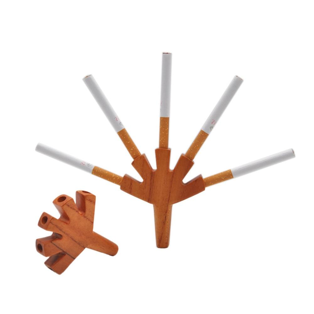 Pipa de madera de cinco agujeros hecha a mano clásica, longitud 84mm, soporte para tabaco portátil, accesorios para fumar 2 pulgadas 52mm coche LED Digital humo Len 12V 2A impulso Bar Metro Universal