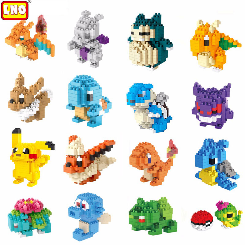 Model Building Kit Mini Blocks Pikachu Series Cartoon Anime Character Model Micro Brick Kids Toys Birthday Gift Diamond No Box