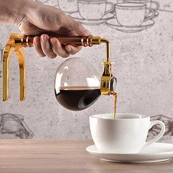 Japanese Style Siphon Coffee Maker Tea Siphon Pot Vacuum Coffee Maker Glass Type Coffee Machine Filter 3 Cups Gold akira halogen beam heater syphon coffee maker heater siphon coffee maker tool vacuum coffee pot beam heater with high quality