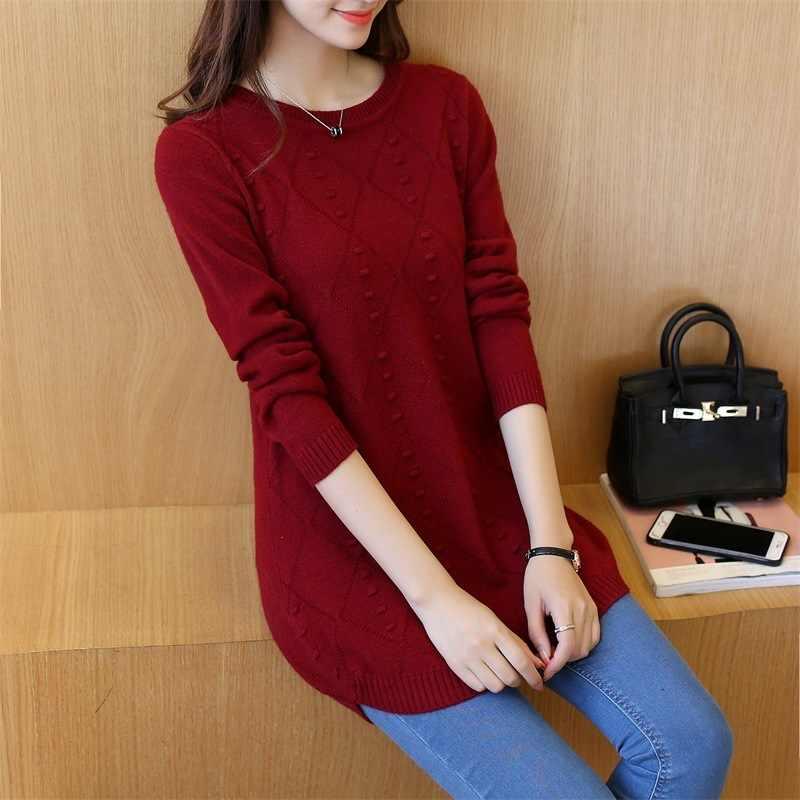 2020 Rajutan Sweater Wanita Pullover Korea Panjang Wanita Sweater dan Pullovers Musim Gugur Musim Dingin Top Pull Femme 6590 # KJ2378