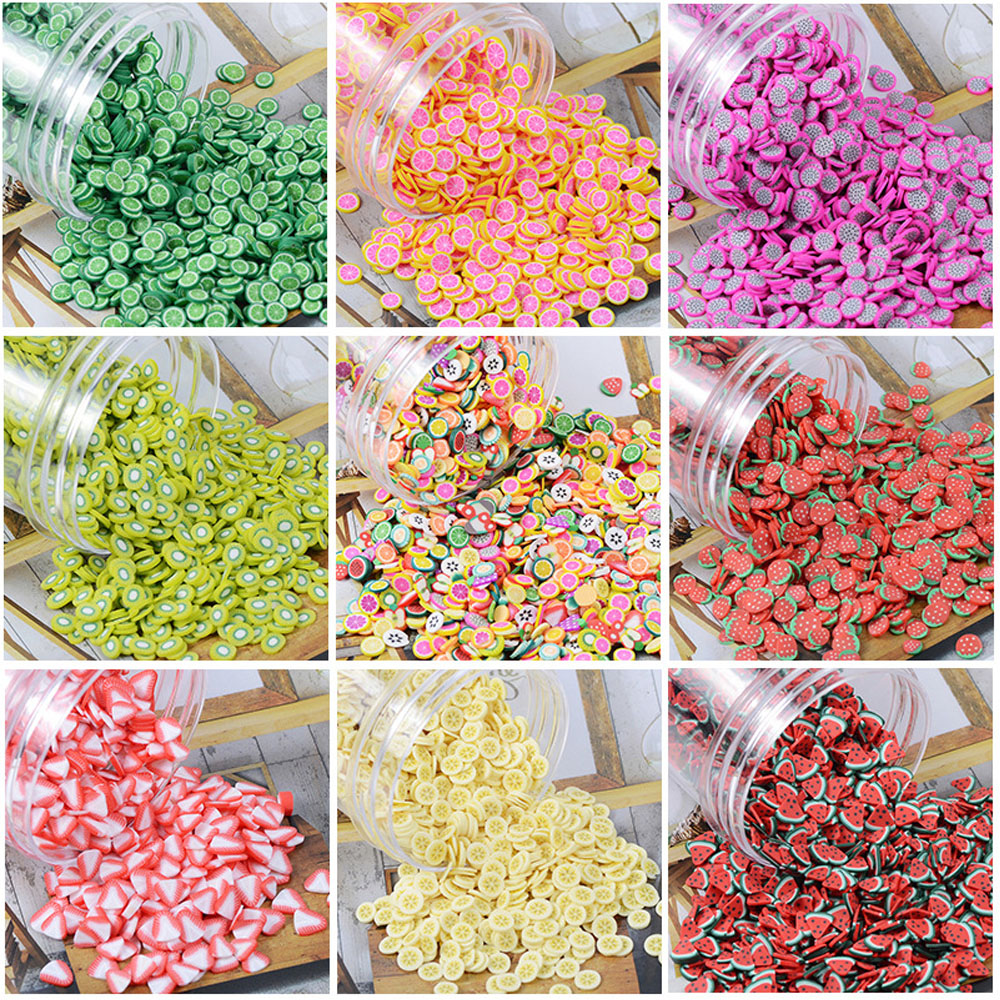 Slimes Addition Soft Fimo Fruit Slices For Slime Fluffy Lizun DIY Nail Mobile Supplies Slime Charm Accessories Kits For Children