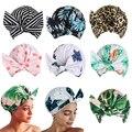Многоразовые шапочки для душа, женское полотенце, толстая двухслойная Водонепроницаемая шапка для ванны с леопардовым принтом, чехол для д...