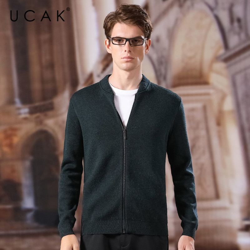 UCAK Brand Sweatercoat Men 2020 New Arrival Fashion Spring Autumn Wool V-Neck Casual Solid Zipper Streetwear Sweaters Men U1044