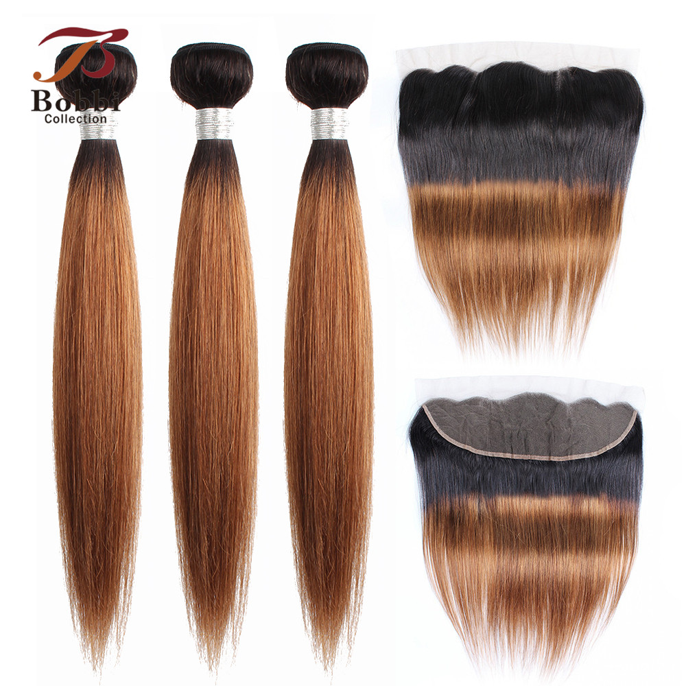 Bobbi Collection 2/3/4 Bundles With Frontal T 1B 30 Ombre Brown Auburn Indian Remy Human Hair Extension Straight Hair Weave