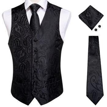 Vests For Men Slim Fit Mens Wedding Suit Vest Casual Sleeveless Formal Business Male Waistcoat Hanky Necktie Bow Tie Set DiBanGu 13