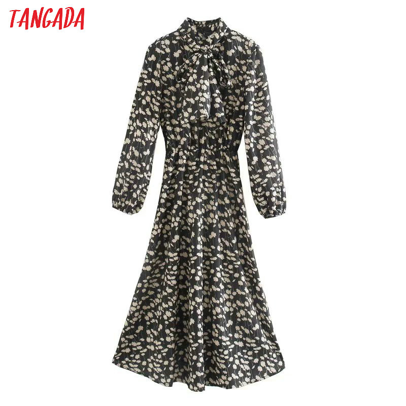Tangada Women Dress Elegant Floral Print Stylish Dress Long Sleeve Bow Tie Long Dresses Female Vintage Vestidos 5Z140