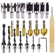 цена на 23 Pcs/set Woodworking Chamfer Drilling Tool 90 Degree Countersink Drill Bits Three Pointed Countersink Drill Bit With L-wrench