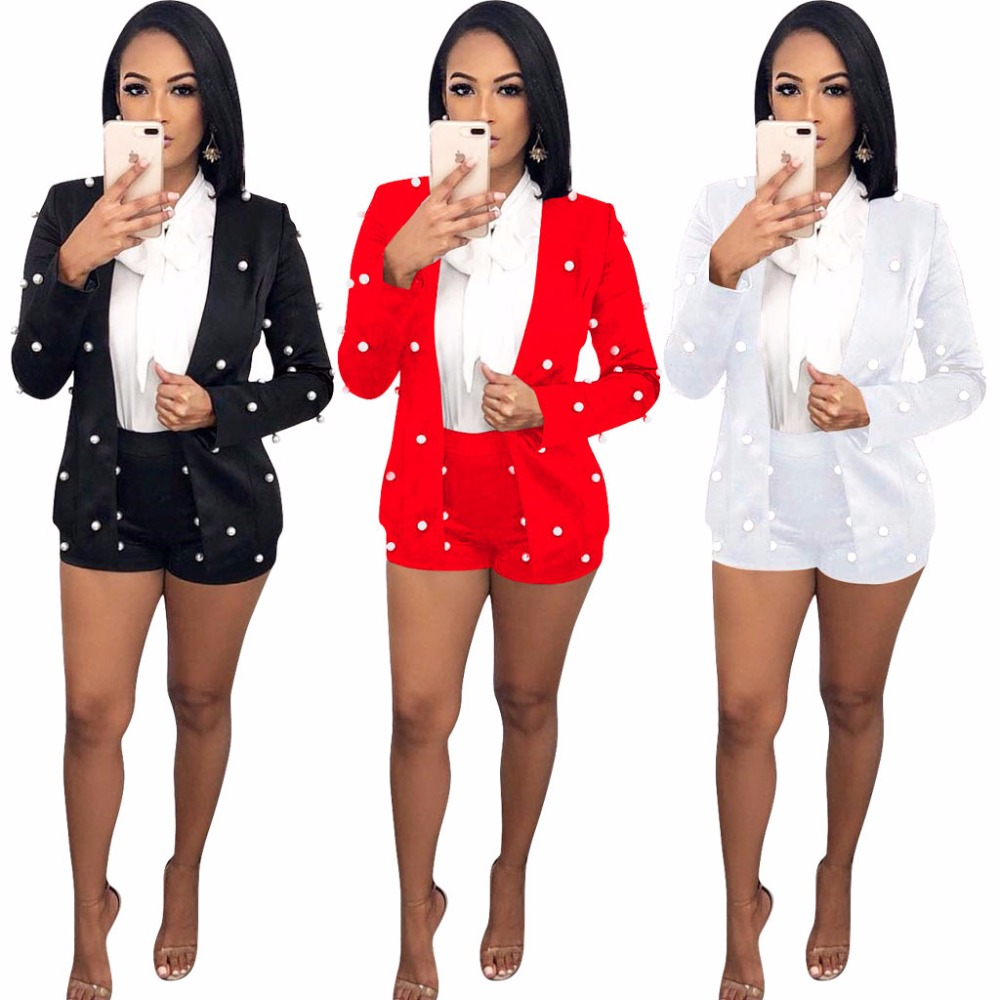 White Women OL Sexy Two Piece Outfit Beaded Short Pants Suit Summer Mujer Two Piece Set Tracksuit
