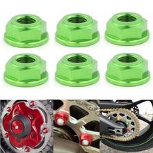 цена на T6-7075 M10x1.25 6PCS/SET CNC Rear Sprocket Nuts For Kawasaki Ninja 250R ZZR250 EX250 Ninja 250SL Ninja 300 EX300 Ninja 400