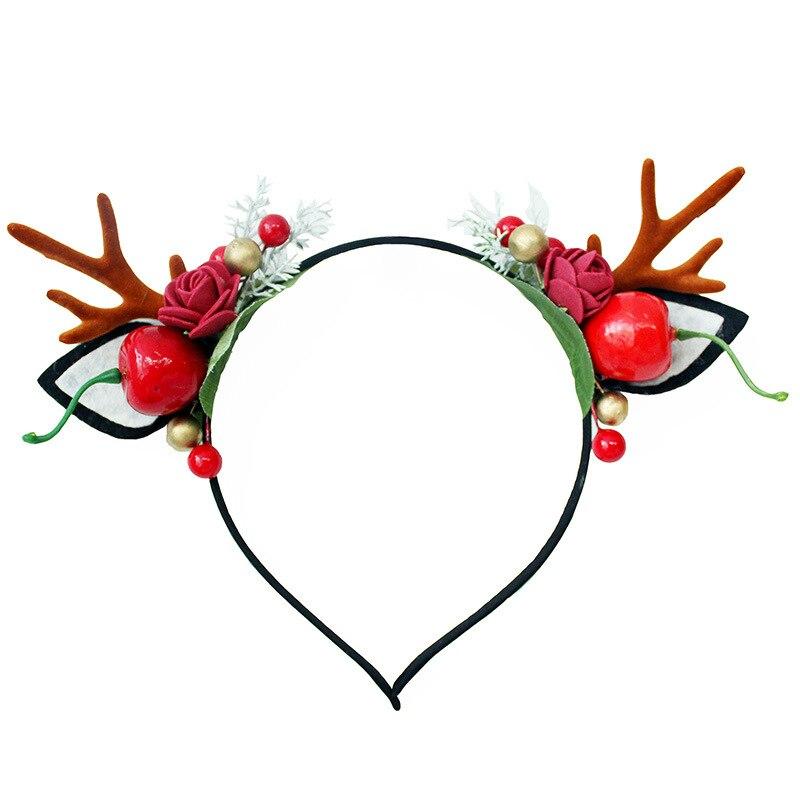 Haimeikang Christmas Hair Hoops Little Antlers Headdress Sweet Cute Berry Sen Cat Ears Hairband Flowers Elk Net Red Headband