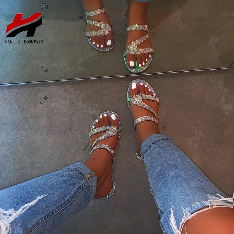 NAN JIU MOUNTAIN Summer Beach Shoes Rhinestone Flats Sandals Simple Slippers Roman Flip Flops Non Slip Comfortable Sole