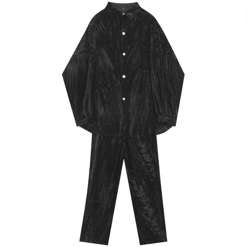 EWQ / 2020 spring fashion new men's set shine Velvet Crumpled Loose long sleeve Coat Pants 2 pieces Suit for male 19H a41 - 6