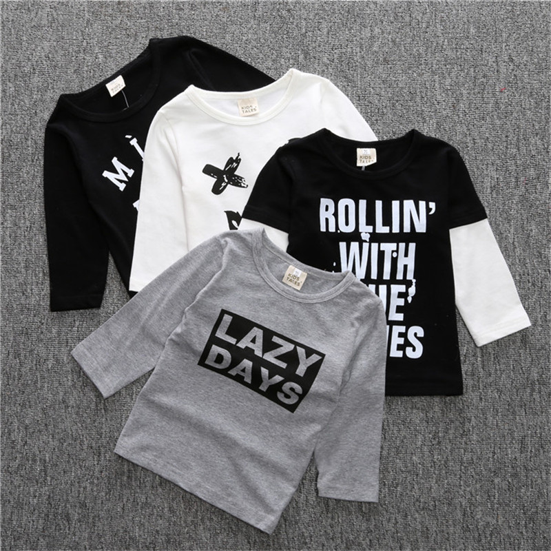 Hot Fashion Ins Children's Wear T Shirt Cotton Baby Boys And Girls Long/Short Sleeved T-shirts For A Boy TX012