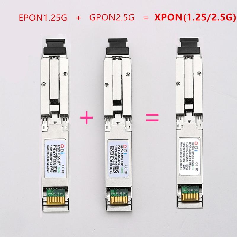E/GXPON SFP ONU Stick With MAC SC Connector DDM Pon Module 1.25/2.5G XPON/EPON/GPON( 1.244Gbps/2.55G)802.3ah 1490/1330nm
