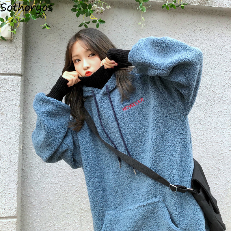 Hoodies Women Letter Patchwork Simple Korean Style High Quality Ladies Plus Velvet Winter Pullover Outerwear Womens Pockets Girl