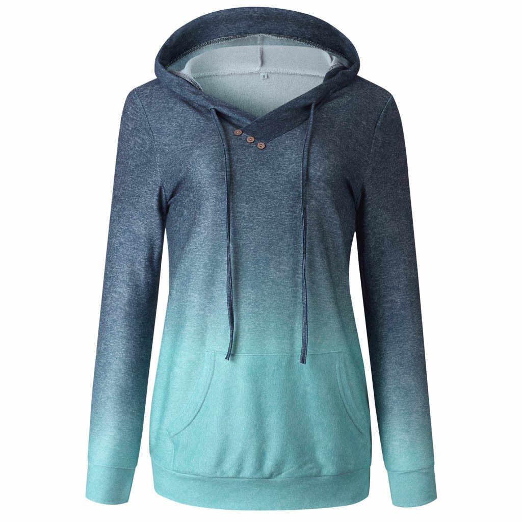 Толстовки и свитшоты осень зима градиентный принт пуловер толстовки с капюшоном свободные толстые женские толстовки женские пальто 2019