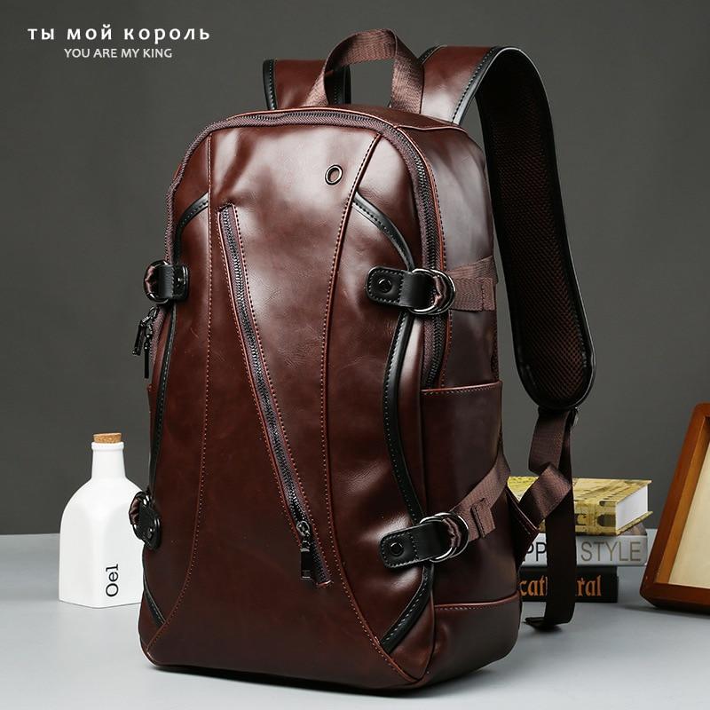 Men Vintage Backpack Comfortable Laptop Backpack Designer School Bag Male PU Leather Travel Bags Large Capacity Rucksack Bag