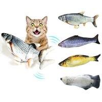 Jouet de poisson en peluche de Simulation électrique pour chat interactif chat mâcher morsure jouets fournitures Kitty chaton poisson Flop chat jouet de secousse