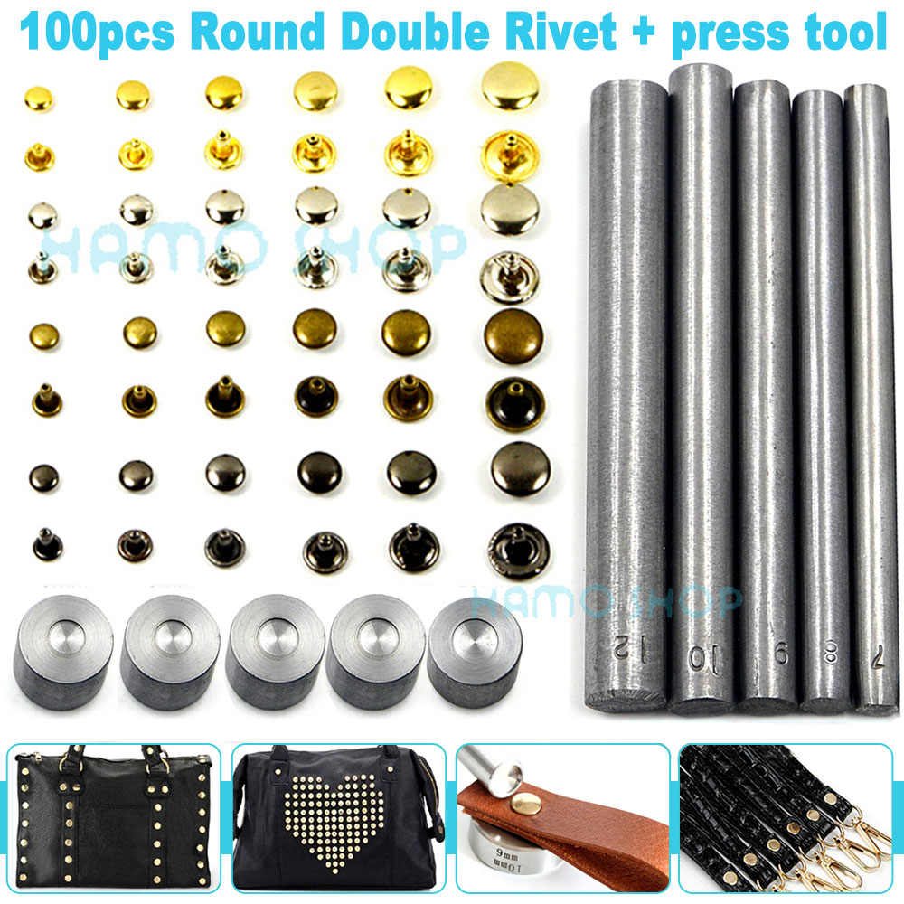 100pcs Round Dome Studs Iron Hand Tool for Fashion Purses Dog Collars DIY Crafts
