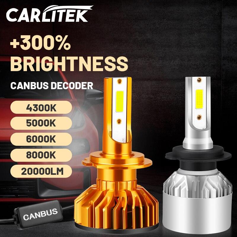 Carlitek H7 светодиодный лампы для передних фар 20000LM H1 H4 H11 H8 H9 9005 9006 HB3 HB4 Canbus Error Free 4300K 5000K 6000K 8000K для Audi BMW