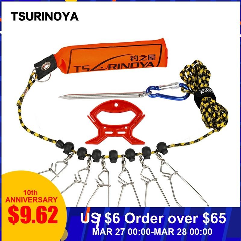 TSURINOYA Buoyancy Rod Fish Lock Buckle Belt Floating Stainless Steel Fishing Lock Buckle 5m Fishing Tackle Tool Accessory