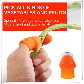 Ogrodnictwo ogrodowe przycinanie owoców zbieranie ręczne urządzenie do przycinania kciuk separacja kciuk nóż palec narzędzie silikonowy nóż kciuk tanie i dobre opinie Z tworzywa sztucznego Garden Gloves Plant Blade Scissors Stainless Steel Silicone