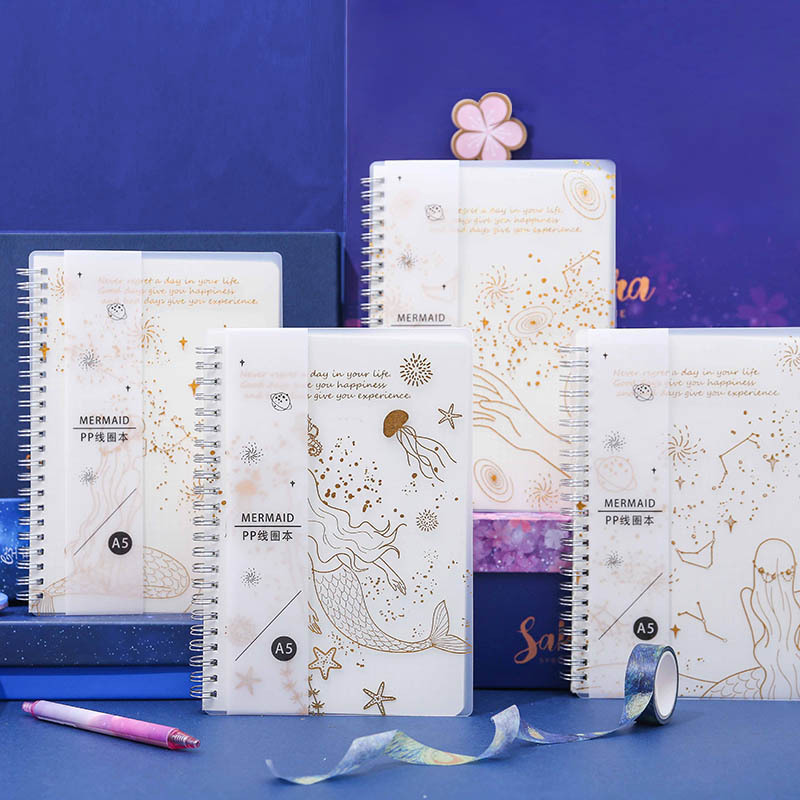 Agenda 2020 Planner Mermaid A5 Spiral Notebook Grid Line Drawing Time Memo Planning  School Office Schedule Stationery For Gifts