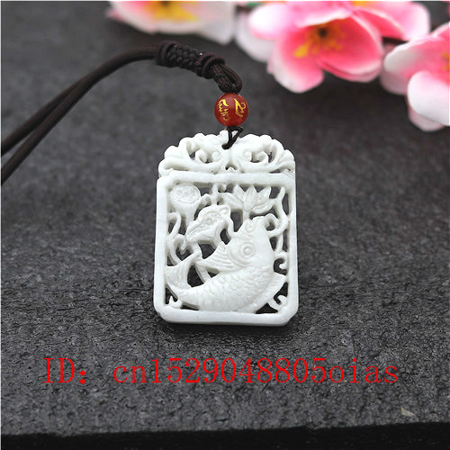 Natural White Chinese Jade Carp Lotus Pendant Necklace Charm Jewelry Double-sided Hollow Carved Fish Amulet Gifts For Her