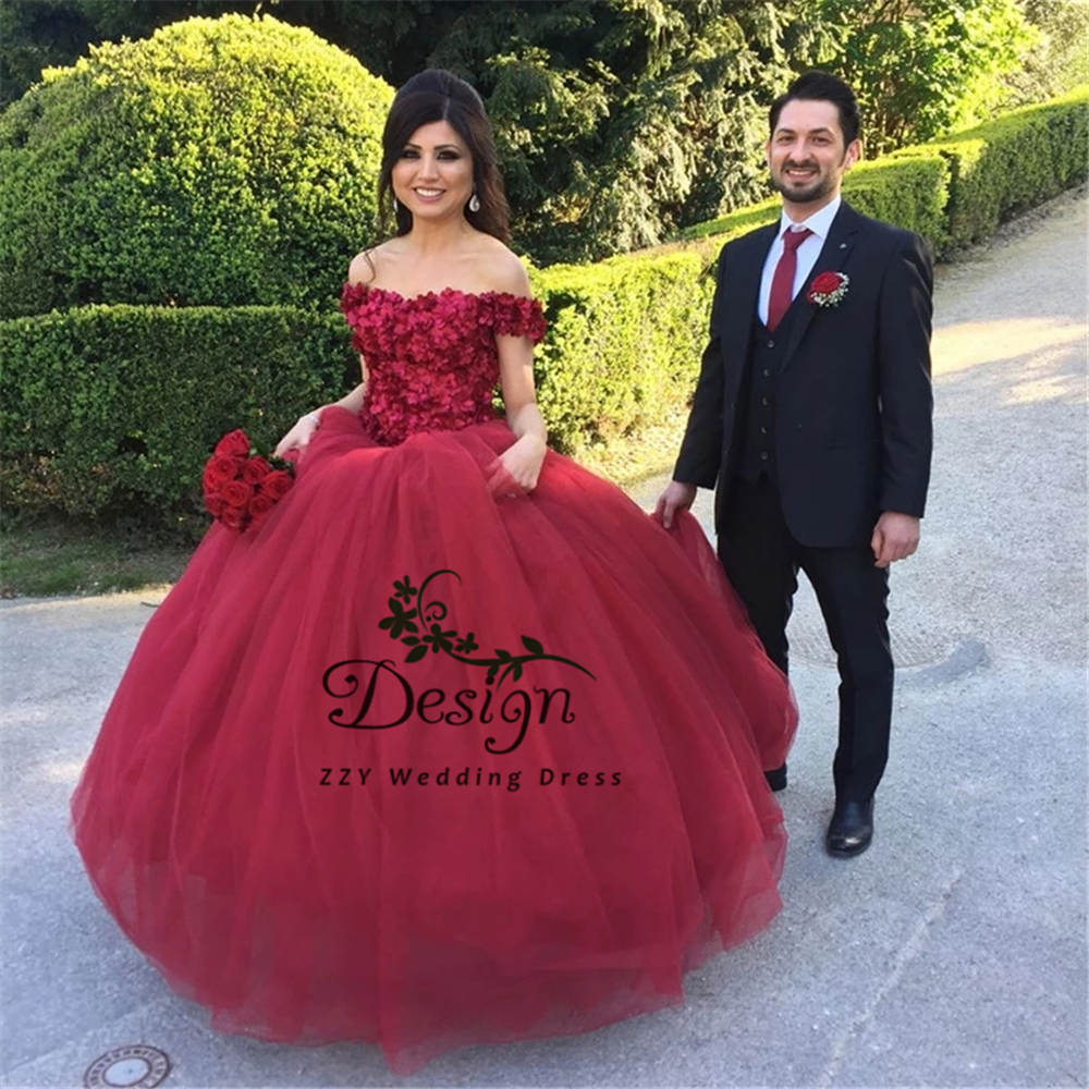 Wine Red Ball Gown Appliques Handworks Flowers Organza And Tulle Quinceanera Dress Off The Shoulder Vestidos De Quincea Era 2019