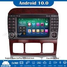 Erisin Android 10,0 Autoradio Autoradio DVD Player GPS DAB + SWC Navi CarPlay OBD2 für Mercedes Benz S/CL Klasse W220 W215 S500