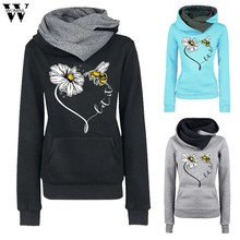 Womail Herbst Winter Fleece Bee Harajuku Druck Pullover Dicke Lose Frauen Übergroße Pullover Sweatshirt Weibliche Casual Mantel M-5XL(China)