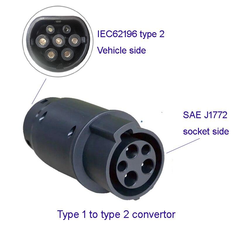 SAE J1772 EV محول موصل نوع 1 إلى نوع 2 شاحن سيارات كهربائية مركبة كهربية قابس مهايئ