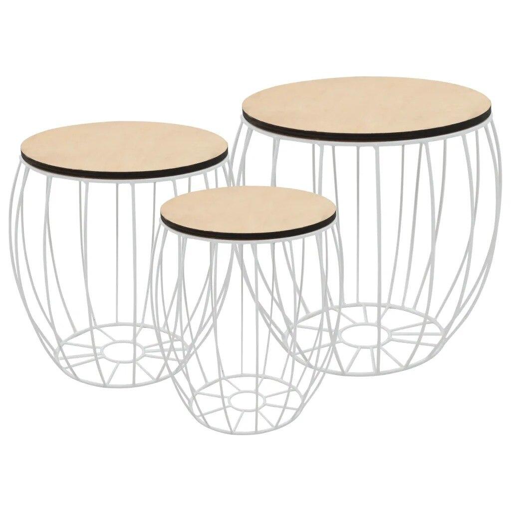 vidaXL Coffee Table Set 3 Pieces Poplar Plywood Iron 246837