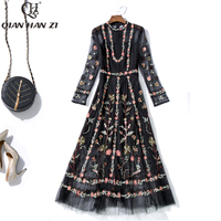 Qian Han Zi spring summer designer dress Women's Long Sleeve Mesh Embroidered Long Dress Vintage Black slim party Maxi dress