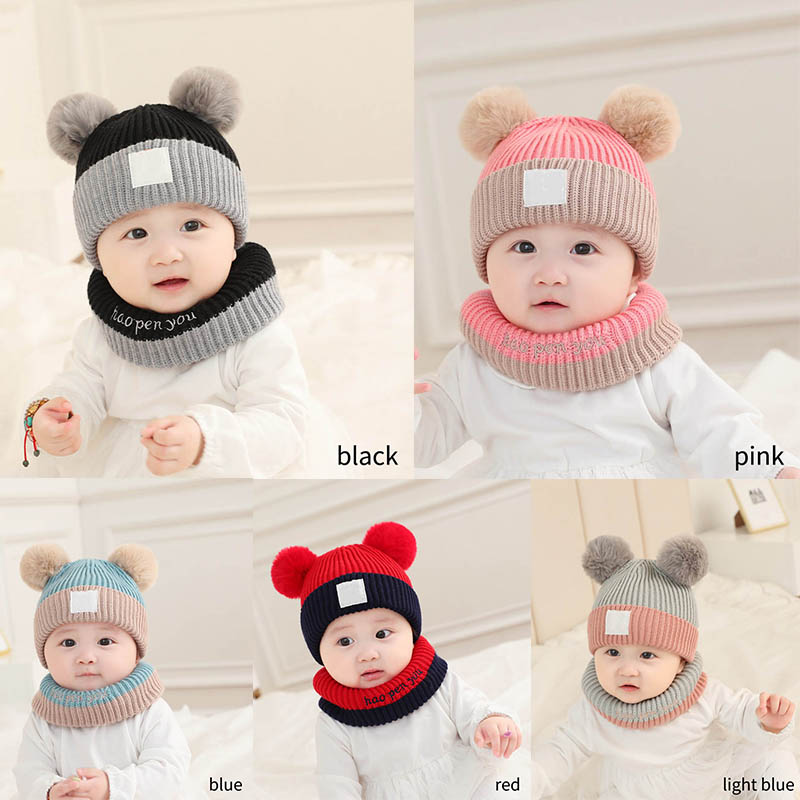 Baby Products Soft Fabric Multicolor Keep Warm Woollen Yarn Warm Child Cap Winter Knitted Hat 2Pcs 3-30 Months Candy Color