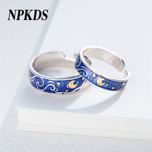 NPKDS 2019 925 Sterling Silver Van Gogh The Starry Night Designer Art Ring For Women Couple Lovers Rings Jewelry LCH734SR00(China)