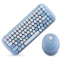 Office mini wireless 2.4G keyboard and mouse set round keycap girl powder wireless keyboard
