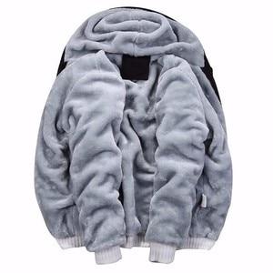 Image 2 - Tamanho grande jaqueta masculina tamanho grande 7xl 8xl 9xl 10xl com capuz outono e inverno manga longa zíper espessamento velo quente preto gra