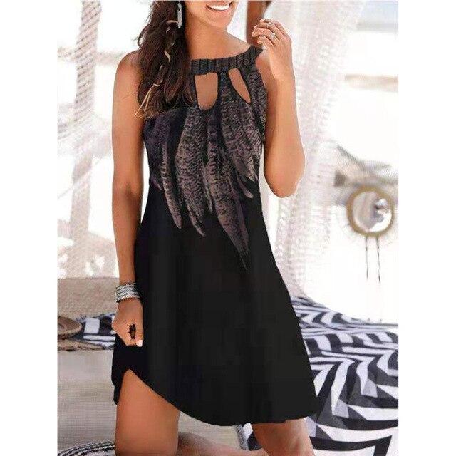 Vestido estampado calado sin mangas para mujer, ropa Sexy informal Vintage para fiesta en la playa, Vestido de cuello redondo Y2k 2