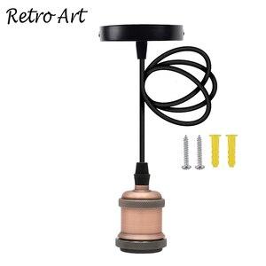 Image 3 - E26/ E27 תקרת תליית טקסטיל כבל מנורת בעל מלוטש תליון אור ערכת התאמה