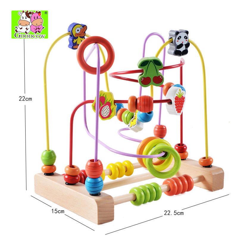 Wooden Large Size Bead-stringing Toy Educational Bead Toy 0-1-3-4-5 Years Old Baby Children Hand-Eye Coordination Bead-stringing