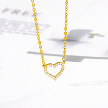Crystal Heart Choker Necklace Women Gold Silver Color Jewelry Shiny CZ Zirconia Love Heart Shape Pendant Necklace For Women Gift a suit of stylish solid color heart shape letter carving pendant necklace for women