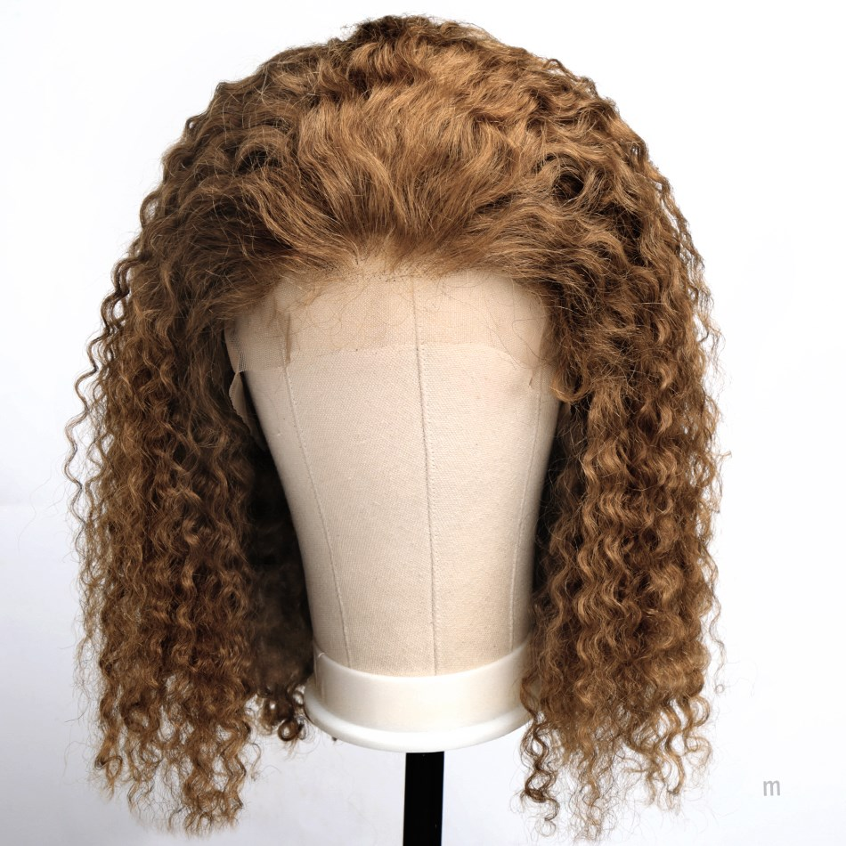 #27 Color Short Ombre Human Hair Wig Deep Curly 13x6 Lace Front Human Hair Wig Pre Plucked Hairline Colored Human Hair Wigs Remy