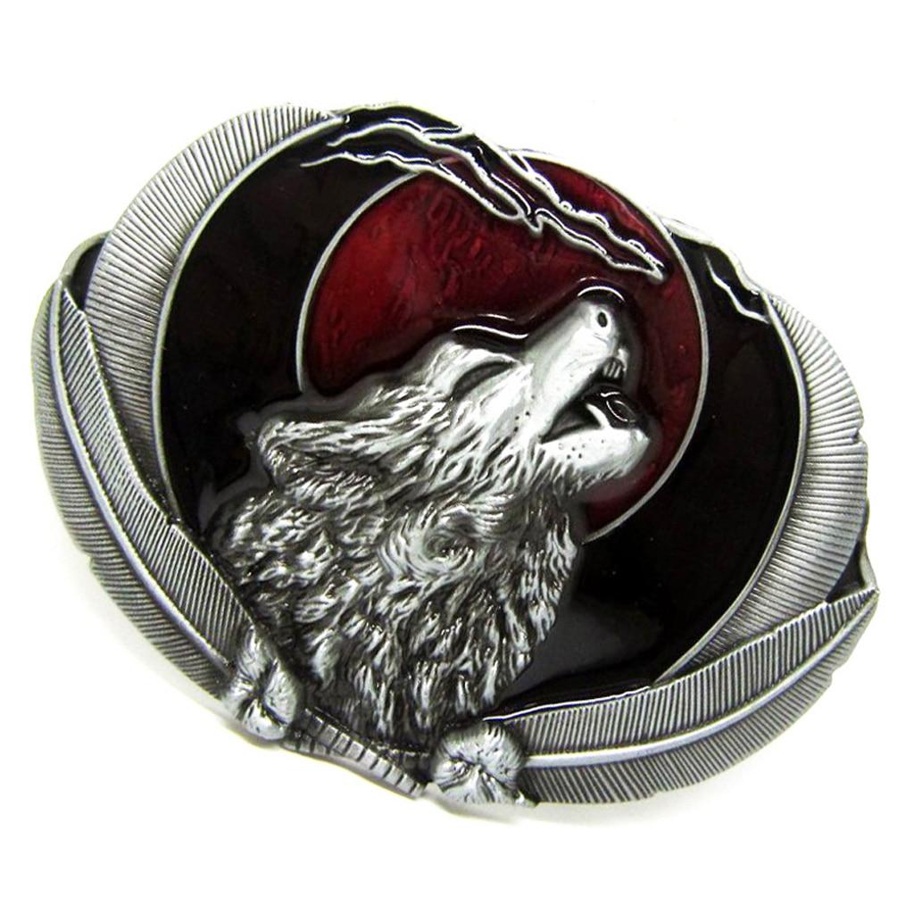 Novelty Vintage Western Belt Buckle Howling Wolf Cowboy Unisex Casual Silver